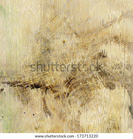 art abstract watercolor and graphic beige  background with grey and brown blots - stock photo