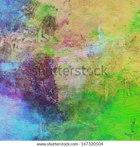 art abstract watercolor background on paper texture with beige, green, blue, pink and violet blots - stock photo