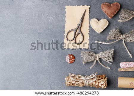 Art and craft materials set on dark background