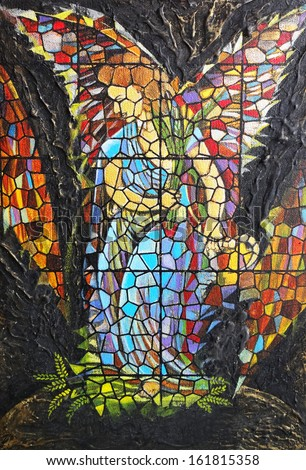 Art angel stained glass.Acrylic color painting on canvas.                              - stock photo