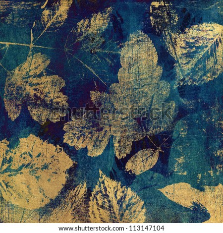 art autumn leaves background, card in beige and green-blue colors - stock photo
