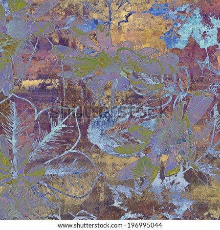 art autumn leaves background in violet, blue, green.beige, old gold and brown colors - stock photo