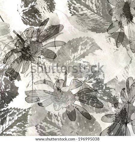 art autumn leaves background in white, black and grey colors - stock photo