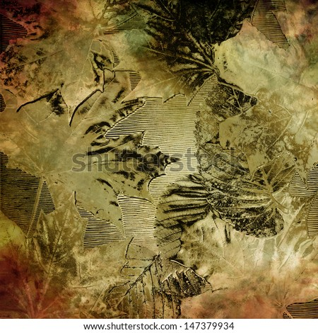 art autumn leaves golden background with red, black and green blots - stock photo