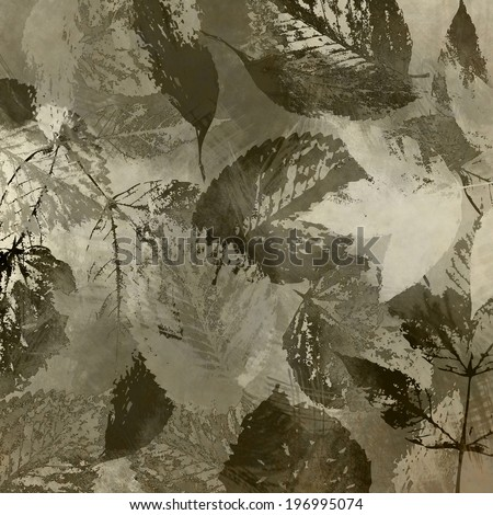 art autumn leaves monochrome background in grey, white and black colors - stock photo