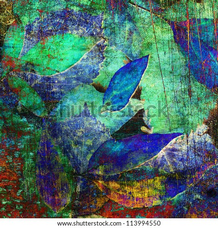 art autumn leaves watercolor and graphic background card in blue, green and red colors - stock photo