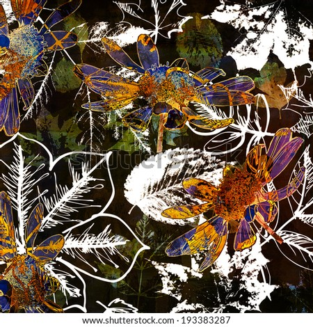 art autumn leaves watercolor and graphic background in black, white, green, gold, orange and blue colors