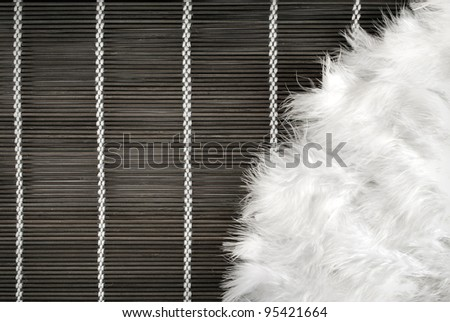 Art background of feather fan on a wooden mat.