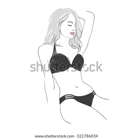 Art background with lies beautiful young sexy woman in black  swimsuit with long  blonde hair, sketch hand drawn illustration. - stock photo