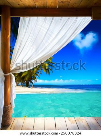 Art beautiful seaside view background - stock photo