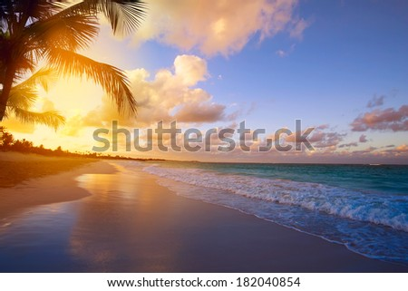 Art Beautiful sunrise over the tropical beach - stock photo