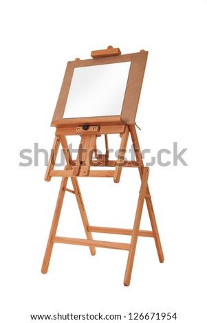 art board, wooden easel - stock photo