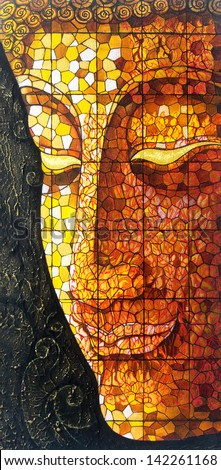 Art Buddha stained glass. Acrylic color painting on canvas. - stock photo