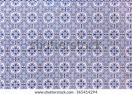 Art ceramic pattern background with colorful texture - Traditional tiles azulejos Lisbon, Portugal - stock photo
