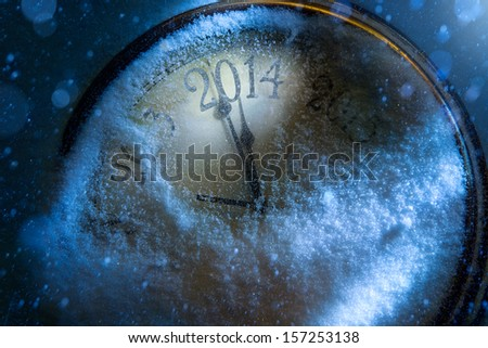 Art Christmas and New year clock 2014  - stock photo