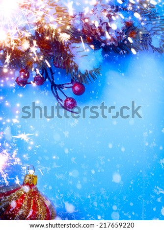 Art Christmas background with fir twigs on snow - stock photo