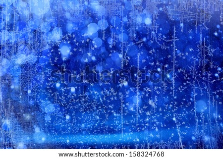 Art Christmas Lights on blue background - stock photo