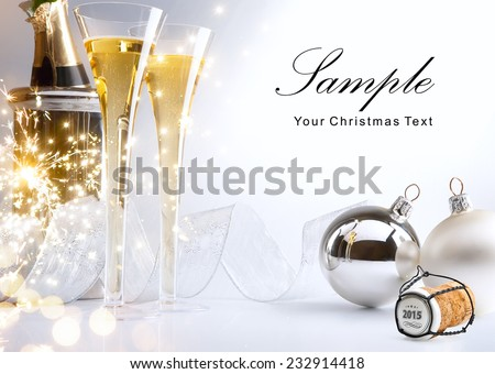 art Christmas or New Year's party invite - stock photo