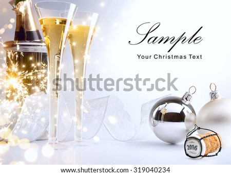 art Christmas or 2016 New Year's party invite - stock photo