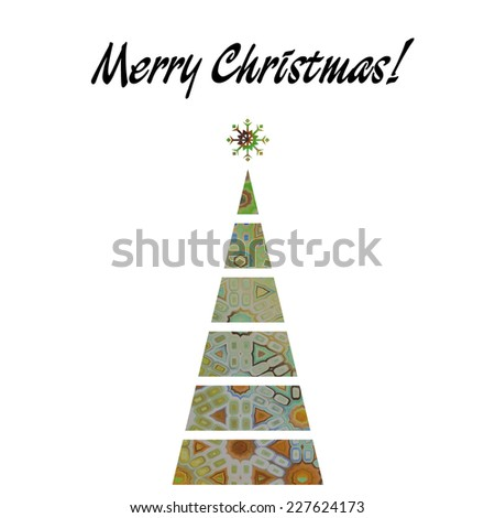 art christmas tree in light green color with abstract pattern and isolated on white background