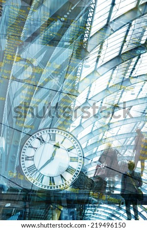 art Clock. Business Traveling concept - stock photo