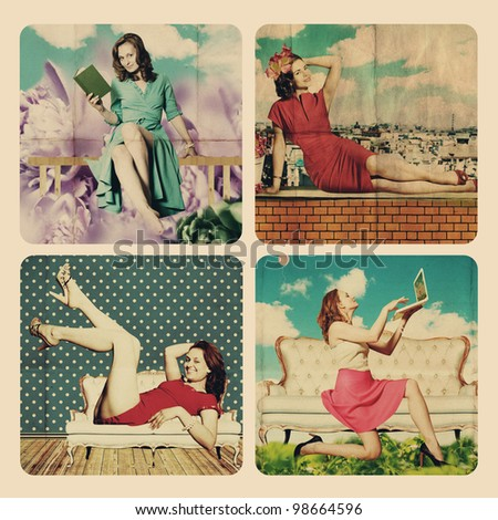 art collage with beautiful woman, retro