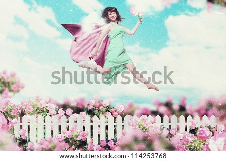 art collage with beautiful women in garden, art collage - stock photo