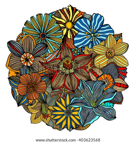 art color floral pattern of round doodles - stock photo