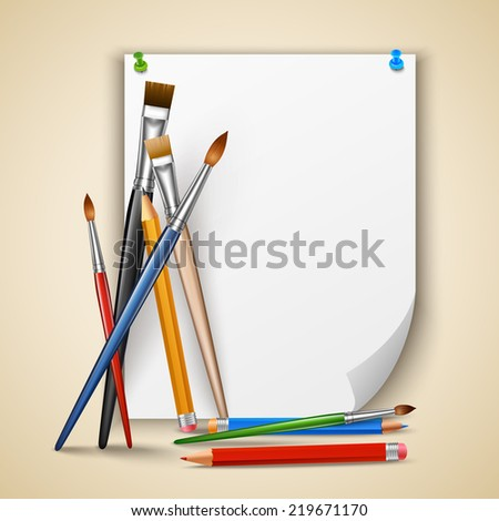 Art color paintbrushes and pencils with sheet of paper  illustration - stock photo