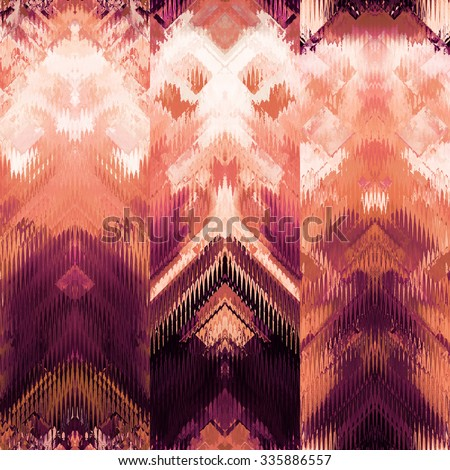 art colorful ornamental ethnic styled seamless pattern with vertical rows; blurred watercolor background in purple, orange coral and white colors