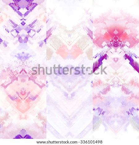 art colorful ornamental ethnic styled seamless pattern with vertical rows; blurred watercolor background in white and pink colors