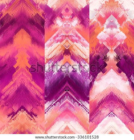 art colorful ornamental ethnic styled seamless pattern with vertical rows; blurred watercolor background in fuchsia, purple, pink, orange coral, red, white and violet colors - stock photo