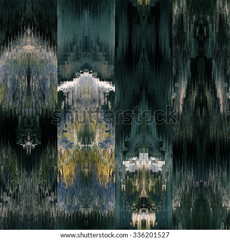 art colorful ornamental ethnic styled seamless pattern with vertical rows; blurred watercolor background in dark blue green, gold and black colors
