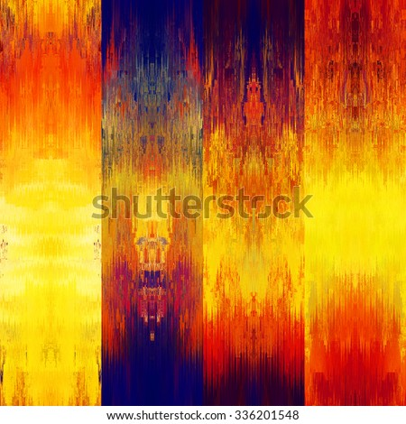 art colorful ornamental ethnic styled seamless pattern with vertical rows; blurred watercolor background in gold, orange, red and blue black colors - stock photo