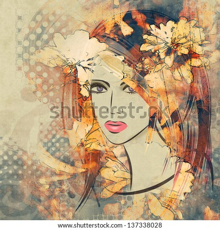 art colorful sketching beautiful girl face with peach floral curly hair, on sepia background - stock photo
