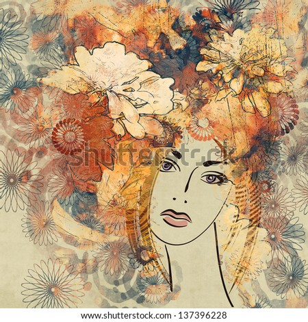 art colorful sketching beautiful girl face with red floral curly hair, on sepia background - stock photo