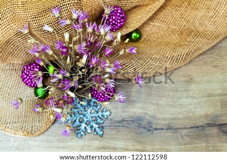 art cristmas decoration composition on wood backgrond with sacking, copyspace - stock photo