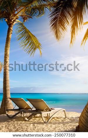 art Deckchairs in tropical beach - stock photo