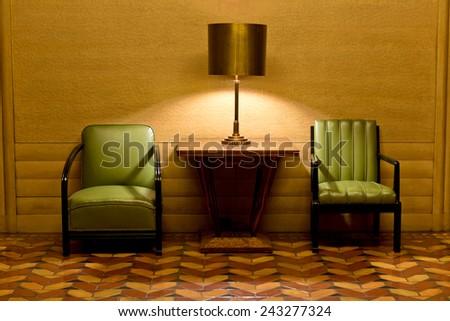 Art Deco Chairs, Lamp, Flooring - stock photo