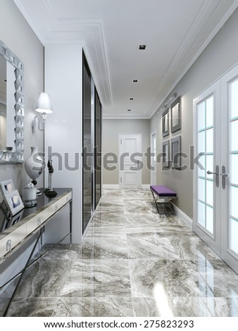 Art deco entrance hall design. 3d render