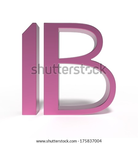 art deco font, 3d letter B isolated on white background - stock photo