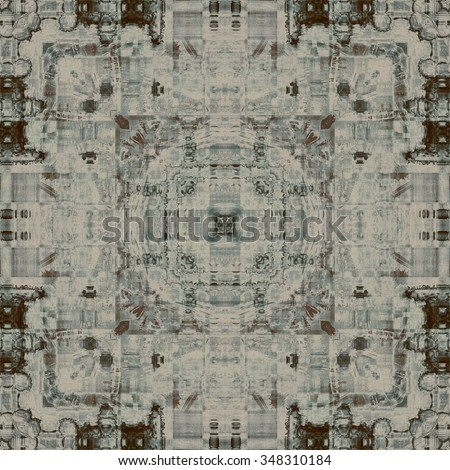 art deco ornamental vintage pattern, S.20, monochrome background in beige grey and brown black colors