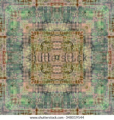 art deco ornamental vintage pattern, S.14, monochrome background in pastel beige, green, lilac and brown colors - stock photo