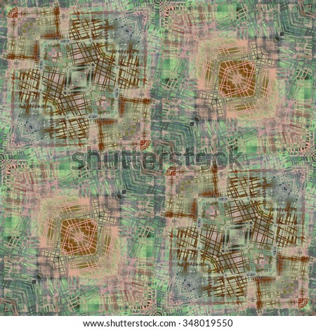 art deco ornamental vintage pattern, S.14, monochrome background in pastel beige, green, lilac and brown colors