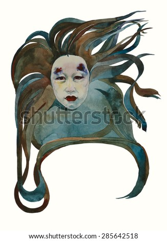 Art deco style beauty asian girl's head art nuovo vignette hair curl for text original watercolor illustration - stock photo