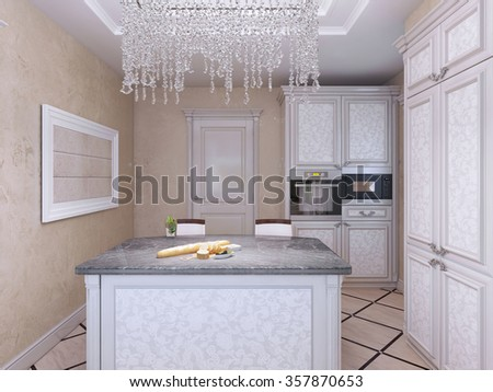 Art deco styled kitchen with island bar. 3D render