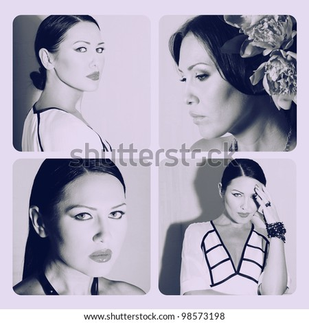 art desaturated collage with beautiful woman - stock photo