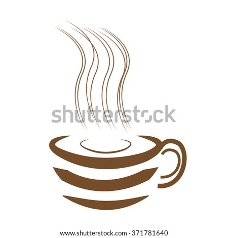 Art design hot coffee with white background - stock photo