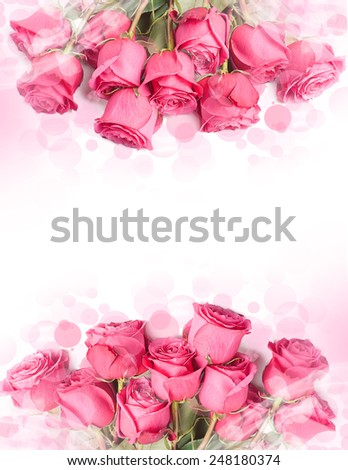 Art Design with beautiful big bouquet of red roses - card with flower border - stock photo