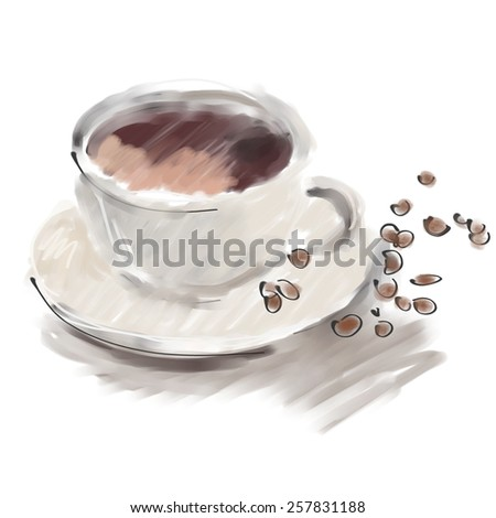 art digital acrylic painted coffee white cup with brown beans isolated on white background - stock photo